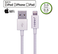 hxinh rayo IMF al cargador usb 2.0& cable de sincronización, para iPhone5, iPhone6, aire ipad, mini ipad, nano 7, toque 5, blanco, 3m