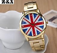 vigilanza di modo del diamante del quarzo bandiera britannica acciaio analogico cinghia del polso delle donne (colori assortiti)