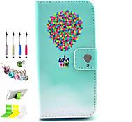 padrão balão pu tudo incluído com o caso de entalhe e caneta conjunto de obturador poeira suporte para iPhone 5 / 5s