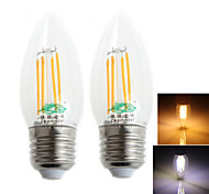 Zweihnder E27 4W 380LM 3000/6000K LED Tungsten Filament Cool/Warm White Candle Light (AC 220-240V,2Pcs)