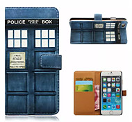 Telephone booth Pattern Wallet Card PU Case With Stand for iPhone 6