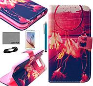 Teste padrão da filial cinza estojo de couro pu Coco fun® com filme e cabo USB e caneta para Samsung Galaxy S6
