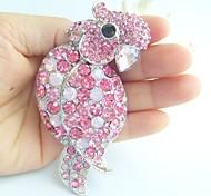 Women Accessories Silver-tone Pink Rhinestone Crystal Parrot Brooch Art Deco Women Jewelry