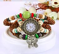 Women's Round Dial Case Beads Watch Brand Fashion Quartz Watch