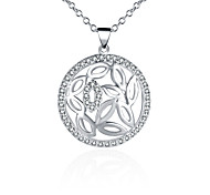 Fashion Style 925 Sterling Silver Jewelry Hollow Round Pave Zircon Pendant Necklace for Women
