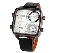 Herren-militärischen zwei Zeitzonen-PU-Leder-Quarz-Armbanduhr (farbig sortiert)