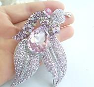 Women Accessories Silver-tone Pink Rhinestone Crystal Brooch Wedding Bouquet Art Deco Flower Brooch