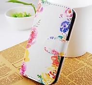 Voor Samsung Galaxy hoesje Kaarthouder / Portemonnee / met standaard / Flip hoesje Volledige behuizing hoesje Bloem PU-leer Samsung S2