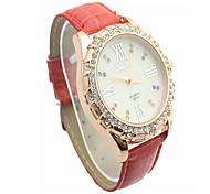Fashion CZ Diamond Leather Watchband Wristwatch(Red)(1Pc)