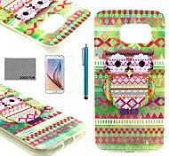 Coco Fun® colorido búho tribal suave TPU caso con protector de pantalla y el stylus para el borde samsung galaxy s6
