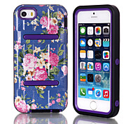 H Models IMD Blue Flowers Pattern TPU and PC Material Triple Phone Shell for iPhone 5C (Assorted Colors)