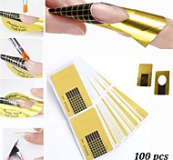 100PCS Golden  Nail Art Forms Tools For Acrylic & UV Gel Tips