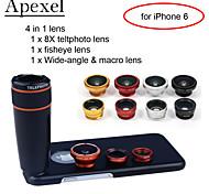 Apexel 4 in 1 kit obiettivo 8x del telescopio lente nero + fisheye + grandangolare + obiettivo della fotocamera macro con cassa per 4,7