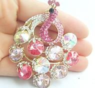 Women Accessories Gold-tone Pink Rhinestone Crystal Peacock Brooch Art Deco Crystal Brooch Bouquet Women Jewelry