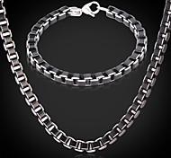 U7® Cool Black Box Chains Aluminium Alloy Necklace Bracelet Sets Quality Jewelry 6MM