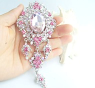 Women Accessories Silver-tone Pink Rhinestone Crystal Brooch Dangling Flower Brooch Bouquet Women Jewelry