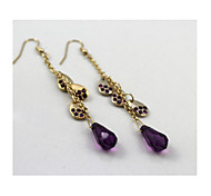 Brand Texture Green Purple Long Paragraph Droplets Earrings*2pc