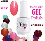 LIBEINE 3 pcs/lot 15 ML UV Color Gel Nail Polish No.052(Glitter Rose Pink)