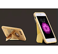 Fashion High-Grade Metal Diamond Bumper Frame Genuine Leather Rear Cover  for iPhone 6 (Assorted Colors)