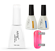 Azure 3 Pcs/Lot Gel Polish Temperature Color Changing Nail Art Soak Off UV Gel Nail(#34+BASE +TOP)