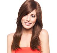 venta caliente de las mujeres europeas dama largo y castaño syntheic onda peluca