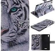 White Tiger Design PU Leather Full Body Case with Stand and Protective Film for Sony Xperia T3