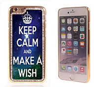 Keep Calm and Make A Wish Design Luxury Hybrid Bling Glitter Sparkle With Crystal Rhinestone Case for iPhone 6