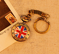 UK Flag Roman Number Bronze Pattern Case Fashion Casual Vintage Antique Pocket Watches With Short Cowboy Chain