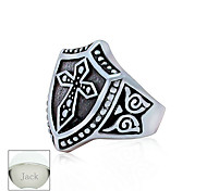 Personalized Father's Day Gift Jewelry Titanium Steel Silver Cross Pattern Men's Ring