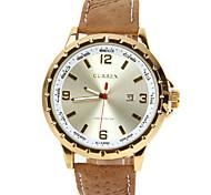 Men's leather Strap Fashion Casual Quartz Dress Watches Calendar Function