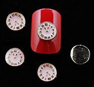 10pcs Pink Color Metal Clock Shape DIY Nail Art Decoration