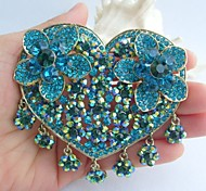 Women Accessories Gold-tone Turquoise Green Rhinestone Crystal Brooch Bouquet Art Deco Crystal Flower Brooch