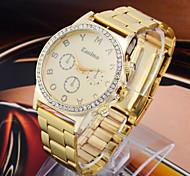 Women's Fashion Diamond Lovely Three Eyes Dial Quartz Analog Steel Belt Wrist Watch