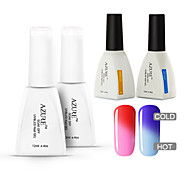 Azure 4 Pcs/Lot Color changing Soak Off UV  Nail Gel Polish Manicure Kit(#07+#17+BASE +TOP)