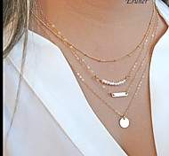 Euner® Layered Set - pearl necklace - Gold Disc Necklace - Dainty Beaded Satellite Chain