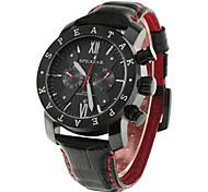 SPEATAK Men Faux 2-Sub Eyes 5 Pointers Genuine Leather Strap Quartz Watch with Calendar (Two Colors Options)