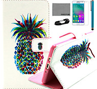 Coco fun® padrão duplo abacaxi estojo de couro pu com filme e cabo USB e caneta para Samsung Galaxy a3