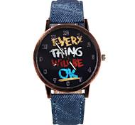 Unique Character Pattern PU  Leather Band Wristwatch(Blue)(1Pcs)