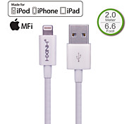 hxinh rayo IMF al cargador usb 2.0& cable de sincronización, para iPhone5, iPhone6, aire ipad, mini ipad, nano 7, toque 5, blanco, 2m