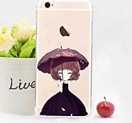 padrão de vestido preto linda menina TPU macio com filme para iphone 6