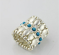 Fashion jewelry  silver alloy elastic ring female blue gemstone ring party ring(1pc)