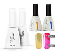 azur 4 pièces / lot ongles gel art polonais tremper hors changeant de couleur en haut de gel uv et kit de couche de base (n ° 29 + # 39 +