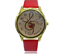 Unisex Dress Watch Men Women Fashion Leather Quartz Watch Music Symbol Patterned Wristwatches (Assorted Colors)