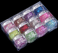 12PCS Mixs Color Glitter Sequins UV Color Gel for Manicure Nail Tips