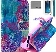 Coco fun® padrão totem colorido estojo de couro pu com protetor de tela e cabo USB e caneta para iPhone 5 / 5s