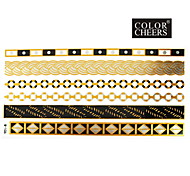 1Pc Gold Silver Black Long Bracelet Tattoo Sticker 23x15.5CM