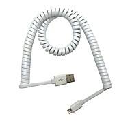 3M Micro USB Spring Coiled Flat Cable Extension Portable