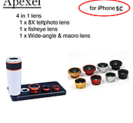 Apexel 4 in 1 Lens Kit 8X White Telescope Lens+Fisheye Lens+Wide-angle+Macro Camera Lens with Case for iPhone 5C