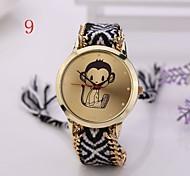 2015 Fashion  Women Watches Gold Wristwatch Ladies Quartz Watches Geneva Handmade Weave Braided  Monkey  Bracelet