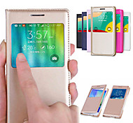 For Samsung Galaxy Case with Windows / Flip Case Full Body Case Solid Color PU Leather Samsung E5